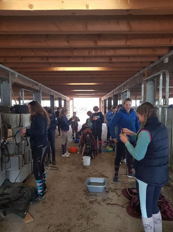 Enfants se préparant pour faire du cheval lors d'un camp équestre à Château-d'Oex - Ecole d'équitation Jean Blatti